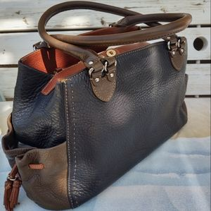 Cole Haan Village Tri-Color Black/ Brown & Taupe Leather Satchel Tote